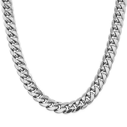 Collar Hombre de Acero Inoxidable plata Cadena Cubana de Eslabones Cuadrados Ancho 6/10/12MM, 36/46/51/55/61/66/71/76cm Joyas en Caja (12mm-Silver, 55)