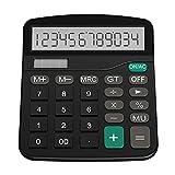 Elviray De plástico solar computadora de negocios finanzas oficina calculadora de 12 bits de escritorio calculadora de suministros de oficina