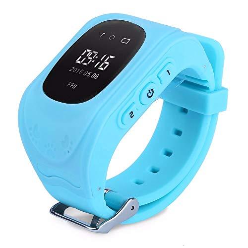 PromoTech GPS Tracker Telefon Kinderuhr- Kleiner Frosch - ohne Abhörfunktion - sicherem Deutschen Server, SOS Notruf + Telefonfunktion, App auf Deutsch (Blau)