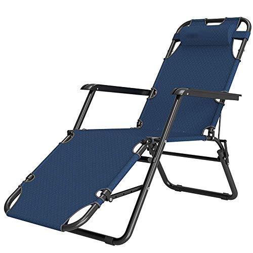 Wghz Tragbarer Loungesessel, Gartensonnenstuhl mit Abnehmbarer Kopfstütze und rutschfestem Fußpolster, für Patio Garden Beach Pool, Stützen 150 kg, Blau 1