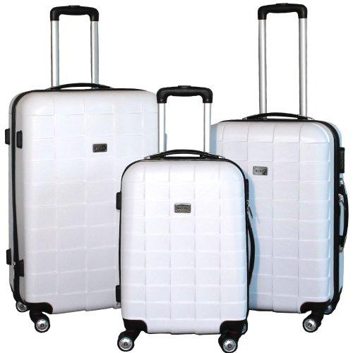 BERWIN® Kofferset 3-teilig Reisekoffer Koffer Trolley Hartschalenkoffer ABS Teleskopgriff Modell Squares (Weiß)