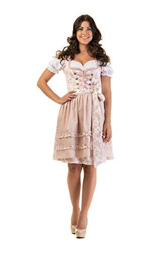 Trachtl.de Dirndl Trachtenkleid Damen ELSA in ROSA 3.TLG Set Bluse und SCHÜRZE 38