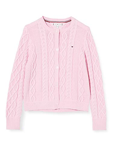 Tommy Hilfiger Mädchen Cable Cardigan Pullover, Romantisches Rosa, 4
