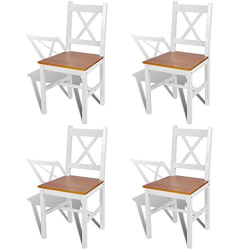 vidaXL 4 sillas de Comedor Hechas de Madera de Pino, Colores Blanco y Natural
