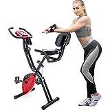 Daverose X-Bike, bicicleta estática plegable magnética, bicicleta estática para entrenamiento cardiovascular, bicicleta interior con ordenador de tránsito y bandas de expansión (rojo)