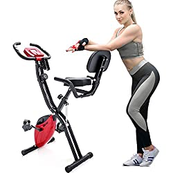 Merax® Exercise BikeF-Bike Exercise Bike Exercise Bike Fitness Exercise Bike with Training Computer Foldable Hand Pulse Sensors Folding Exercise Bike Safety checked Fitnessbike, Red