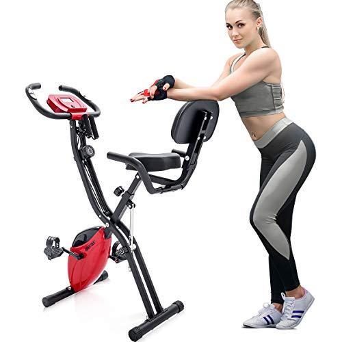 Merax Fitness Bike, Heimtrainer mit Traningscomputure und Expanderb?nder Cycling Bike, 10-stufiger Magnetwiderstand Fitnessfahrrad Trainingsger?t klappbar X-Bike Faltbares Fitness Fahrrad (Rot)