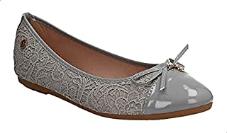 Dejavu Front Bow Embossed Faux Leather Ballerina Shoes for Women