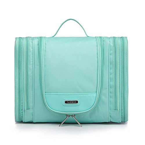 Hanging Travel Toiletry Bag Cosmetic Makeup Kit Organizer with 4 Side Pockets for Women Girl Large(Green)