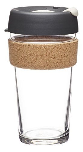 KeepCup 16oz Reusable Coffee Cup. Toughened Glass Cup & Natural Cork Band. 16-Ounce/Large, Press