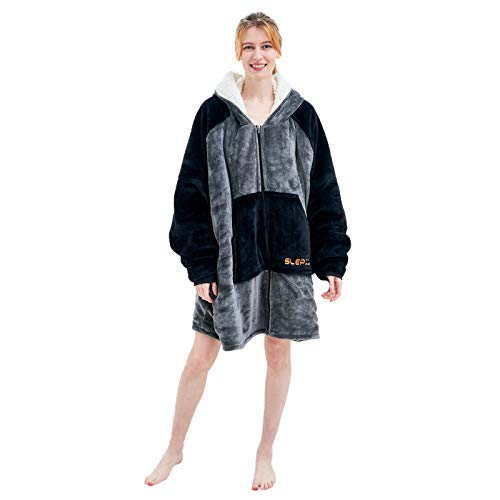 SLEPZON Blanket Hoodie | Oversized Wearable Blanket - Deep Pockets, Comfy Sleeves, Front Zipper - Deluxe Fleece Sweatshirt Blanket - Black
