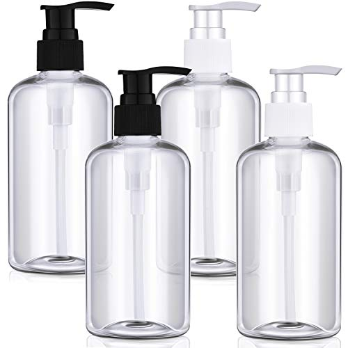 4 Paquetes Botellas de Plástica Vacío de 8 oz con Dispensador de Bomba Botellas Transparentes de Bomba Recargables para Gel de Baño, Crema, Líquidos, tTapones de Bombeo en Blanco y Negro
