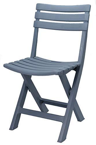 Spetebo Robuster Kunststoff Klappstuhl - blau/grau - Gartenstuhl Bistrostuhl Balkonstuhl Campingstuhl