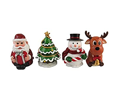 DWK - Merry Little Christmas - Set of Four (4) Collectible Miniature Holiday Santa Claus Snowman Christmas Tree and Reindeer Mini Figurines Festive Home Décor Mini Party Favors, 4-inch