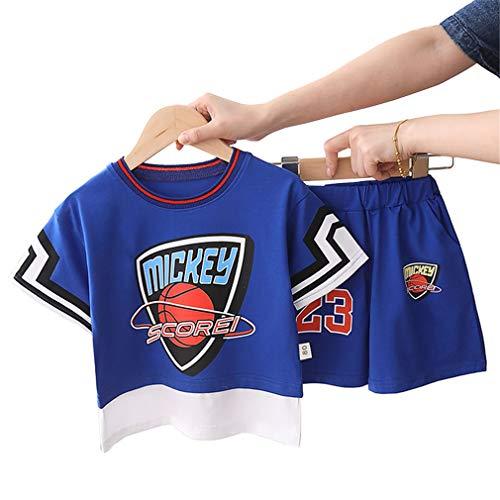 Kinder # 23 Mickey Scorei Basketball Trikots Sets, Atmungsaktive Weste Sport Short Sets Boy Girl Breathable Ball Wear Blue-Blue-XL