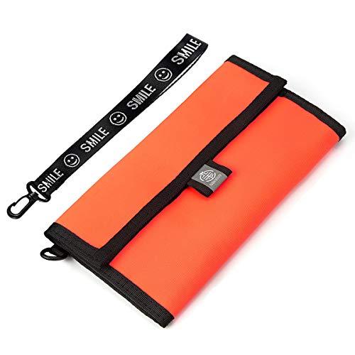 XIANGUO Reisepasshülle Unisex Reisebrieftasche Wasserdichtes Nylongewebe RFID Schutz Mit Gurt & Handschlaufe Orange 20 cm x 11 cm