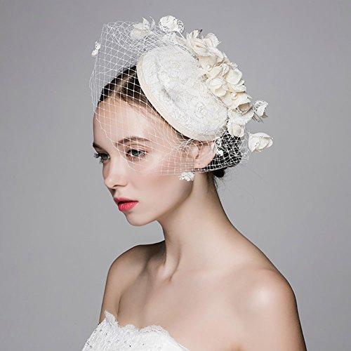 SILKTALK Handgemachter Braut Blumen Netz Schleier Hut Hochzeit Haarschmuck Cocktail Party Hut mit Clip, Beige