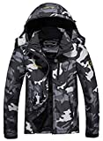MOERDENG Men's Waterproof Ski Jacket Warm Winter Snow Coat Mountain Windbreaker Hooded Raincoat, Black Camo, X-Large