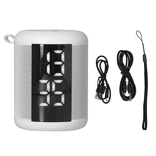 Altavoces Bluetooth, Altavoz Inalámbrico Reloj Despertador Reloj Despertador Doble Multifuncional Pantalla LED Barra De Sonido Pantalla De Temperatura, Radio FM, Llamada Manos Libres(Blanco)
