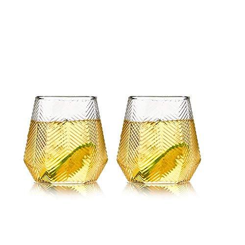 YUEZPKF Hermoso Vidrio geométrico, Taza de té para Beber Resistente a Alta Temperatura, Taza Transparente y Simple, hogar Creativo de Vino de Vino-Pack (Color : Two Packs)
