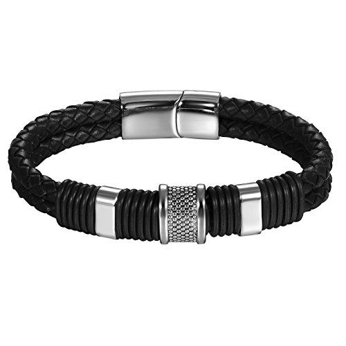 JewelryWe sieraden roestvrij staal zwart leer heren armband 22 cm