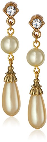 1928 Jewelry'Pearl Essentials' Gold-Tone with Crystal Accent Drop Earrings
