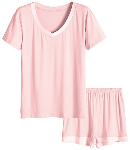 Latuza Women's V-Neck Sleepwear Short Sleeve Pajama Set 3X Light Pink