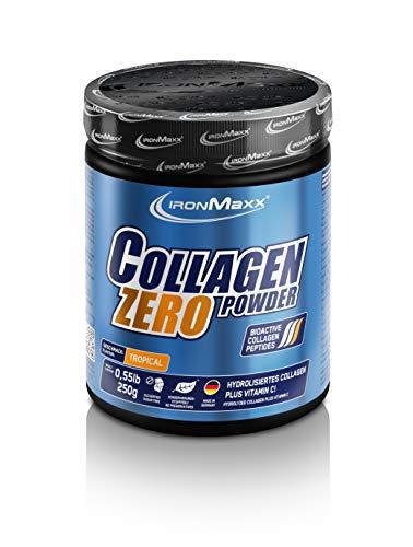 IronMaxx Collagen Powder Zero - Kollagen Hydrolysat + Vitamin C - zuckerfrei - 1 x 250 g Pulver in der Geschmacksrichtung Tropical