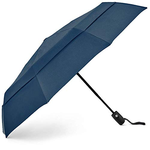 EEZ-Y Compact Travel Umbrella w Windproof Double Canopy Construction - Auto Open Close Button for One Handed Operation - Sturdy Portable and Lightweight for Easy Carry Navy Blue