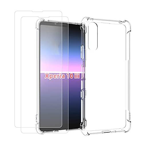 TLING Coque pour Sony Xperia10III + 2 x Protecteur D'écran, Ultra Mince Anti Rayures [Quatre Coins Renforcés] Silicone TPU Housse Étui pour Sony Xperia10III (2021), Transparent