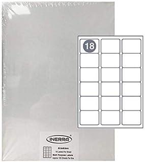 Inerra Autoadesivo Vuoto Etichette 27 per A4 Foglio - Quantit/à Opzioni - 63.5 x 29.6mm Avery Compatibile con: L6011 Adesivi Indirizzo Getto DInchiostro,Laser o Copiatrice,Non Jam,Bianco