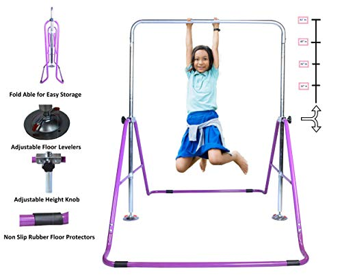 Athletic Bar Expandable Gymnastics Bar Horizontal Kip Bar Junior Training Adjustable Height Jungle Gym Children Folding Training Monkey Bars Climbing Tower Playground Balance Bar Gymnasts Purple