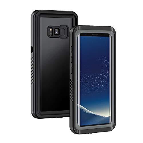 Lanhiem für Samsung Galaxy S8 wasserdichte Hülle, [IP68 Zetrifiziert Wasserdicht] Handy Hülle mit Eingebautem Bildschirmschutz, Stoßfest Staubdicht Schneefest Outdoor Schutzhülle - Schwarz+Grau