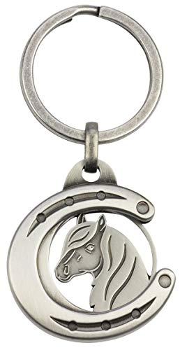 Schlüsselanhänger mit Einkaufswagenchip Hufeisen mit Pferdekopf