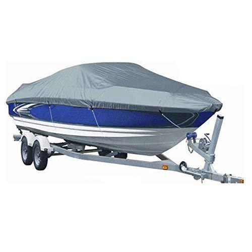 Gycdwjh Cubierta del Barco, Funda Lancha Motora Boat Cover 300D Tela Oxford Protección UV Impermeable Funda de Lancha para la del Buque V-Hull Runabout,Gris,21to24FT