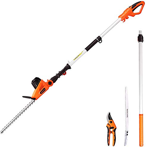 GARCARE Corded Pole Hedge Trimmer - 3 in 1 Telescopic Hedge Trimmers Long Reach 2.8m, Electric Hedge Cutter Bush Trimmer (450mm Laser Cut Blade, 20mm Cutting Space, 600W)