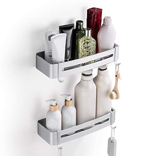 YOOKEA Duschablage Ohne Bohren, 2 Stück Duschregal Selbstklebend mit 4 Haken, Duschkorb Aluminum für Badezimmer, Küche, Silber