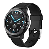 YGQNH S6 Smart Watch Bluetooth Smartwatch Waterproof Sports Heart Rate Blood Pressure Monitor Smart Bracelet for Women Men, Easy to Use(Color:Black)