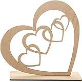 Spruchreif PREMIUM QUALITÄT 100% EMOTIONAL Corazón decorativo de madera para colocar de pie, decoración de mesa, figura decorativa de madera con corazones.