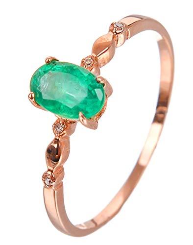 AtHomeShop Mujer oro rojo 18 quilates (750) talla ovalada verde Emerald