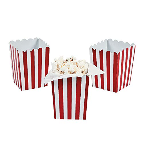 MINI RED STRIPED POPCORN BOXES (2DZ) - Party Supplies - 24 Pieces