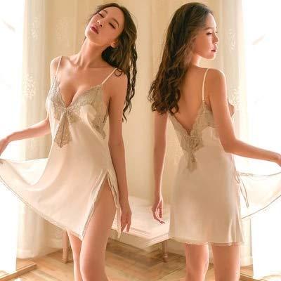 DSGTR Moda Mujer Encaje Sexy con Cuello en v tentación Pijamas de Encaje lencería Negra Mariquita tentación Sexy Ropa Interior de Mujer Encaje Transparente Malla de Encaje reunión Espalda Abierta ma