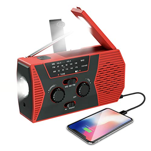 (2020 Upgraded NEW Version) Emergency Solar Hand Crank Radio, NOAA Weather Radio, Self Powered Portable Radio, AM, FM, LED Flashlight, Reading Lamp, 2000mAh Power Bank, SOS Alarm for Outdoor Household