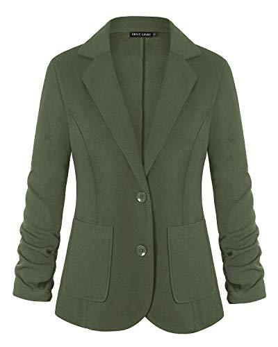 MINTLIMIT Women's Stretch 3/4 Open Blazer Cardigan Jacket (Army Green,Size S)