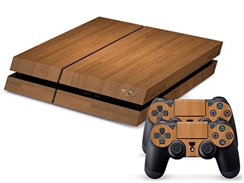 Gaminger Playstation 4 Designfolie Sticker Skin Set für Konsole + 2 Controller – Holzoptik 1