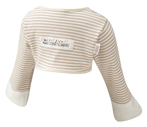 ScratchSleeves   Baby Boys' Stay-On Scratch Mitts   Stripes   Cappuccino and Cream   9-12
