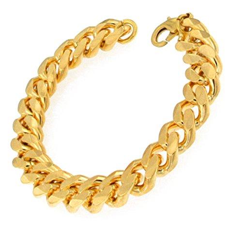 Panzerarmband Gold Doublé 11 mm, 22 cm, Armband Herren-Armband Goldarmband Damen Geschenk Schmuck ab Fabrik Italien tendenze GGY11-22