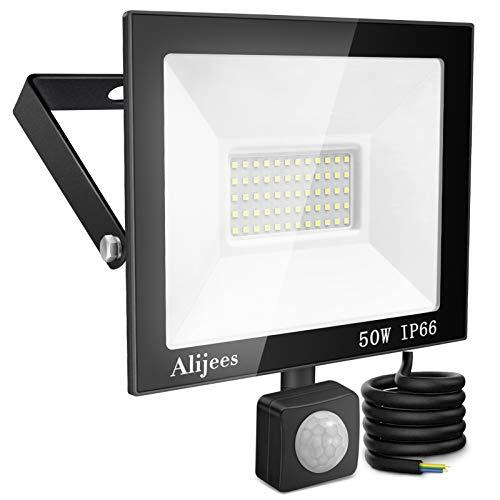 50W Projecteur Exterieur Detecteur de Mouvement - IP66 Imperméable Projecteur Extérieur LED Blanc froid(6500k) 5000LM Lumières de sécurité à domicile à LED étanches