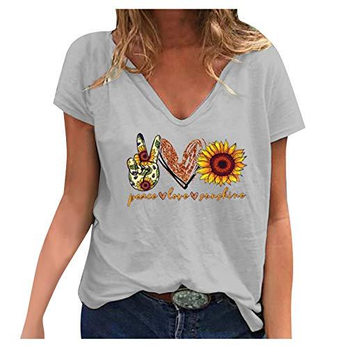 Peace Love Sunshine T-Shirt Frauen Sommer Casual Sunflower Printed Tops Kurzarm Tunika Bluse mit V-Ausschnitt(L,Grau)