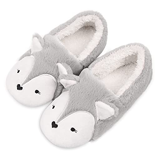 Womens Fox Fleece Animal Cozy House Slippers Indoor Outdoor Christmas Slippers for Women Grey